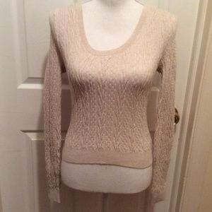 Free People Sweater M Beige Cable Knit Long Sleeve